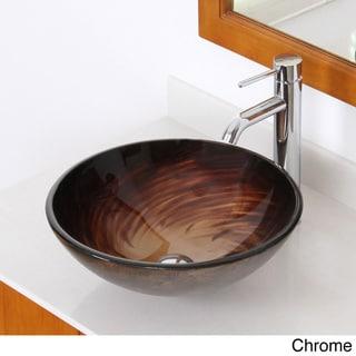 Elite ELITE1 Modern Design Single Lever Tempered Glass Bathroom Vessel Sink and Faucet