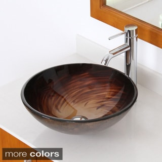 Elite ELITE1 Modern Design Single Lever Tempered Glass Bathroom Vessel Sink and Faucet