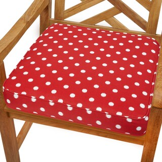 Red Dots 19-inch Indoor/ Outdoor Corded Chair Cushion