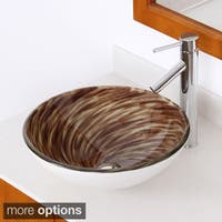 Elite Modern Design Brown Tempered Glass Bathroom Vessel Sink and Faucet Set