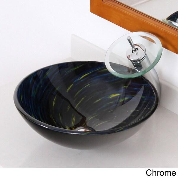 elite modern design blue tempered glass bathroom vessel sink