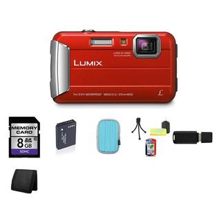 Panasonic Lumix DMC-TS25 Waterproof Red Digital Camera 8GB Bundle