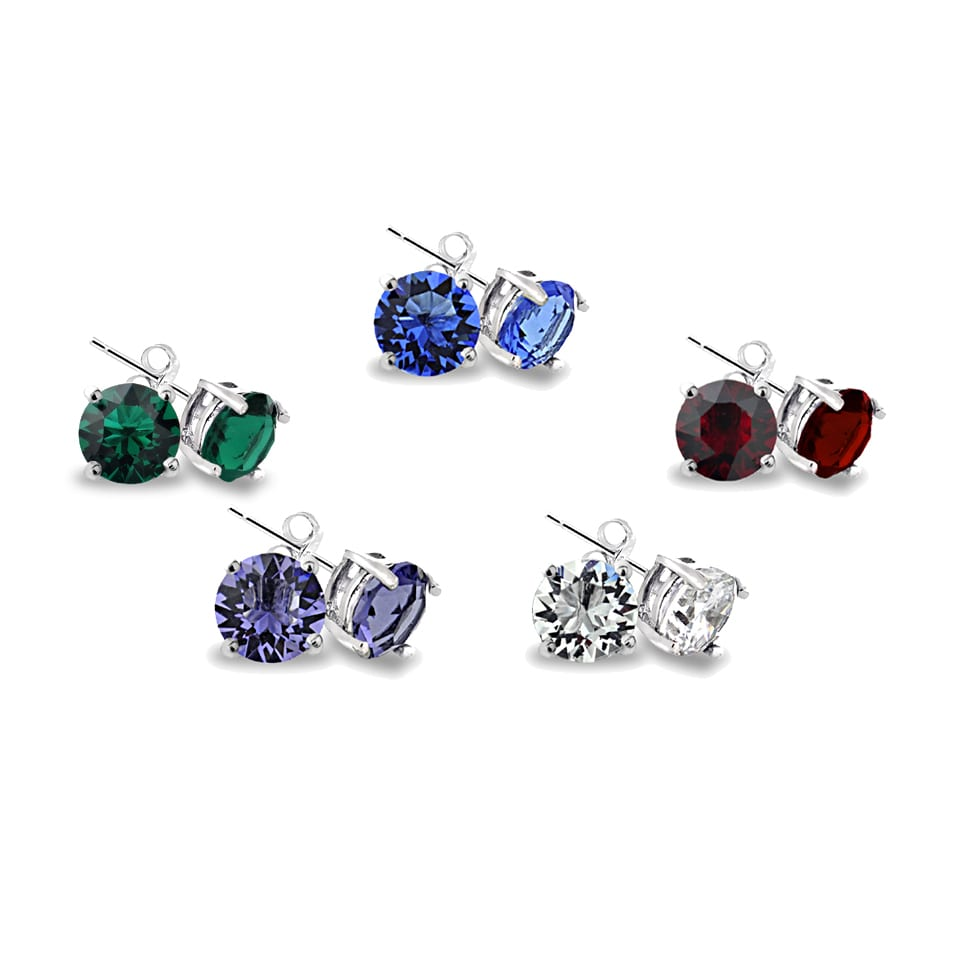 Crystal Ice Multi Color Stud Earrings With Swarovski Elements Set Of 5