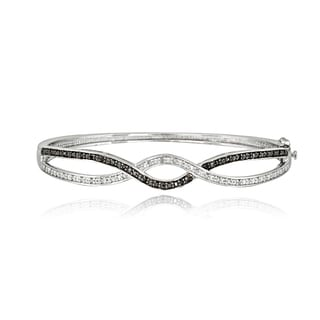 DB Designs Sterling Silver 1/2ct TDW Black/ White Diamond Braided Bangle Bracelet