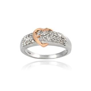 DB Designs Two-tone 1/4ct TDW Diamond Heart Buckle Ring