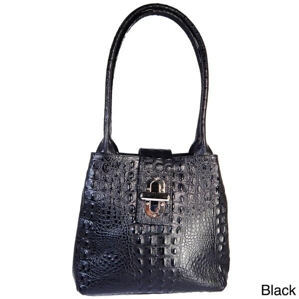 Vecceli Italy Alligator Embossed Genuine Leather Shoulder Bag
