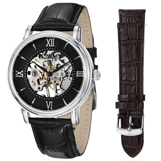 Stuhrling Original Men's Chamberlain Mechanical Leather Strap Watch Set