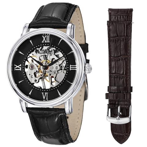 Stuhrling Original Men's Chamberlain Mechanical Leather Strap Watch Set