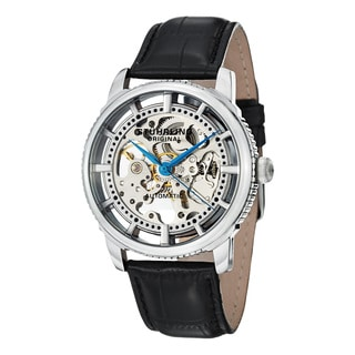 Stuhrling Original Men's Windchester Skeleton Automatic Leather Strap Watch Set