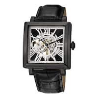 Stuhrling Original Men's Chariot Square Automatic Leather Strap Watch