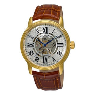Stuhrling Original Men's Delphi Venezia Automatic Leather Strap Watch