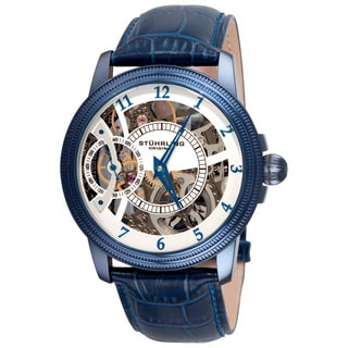 Stuhrling Original Men's Brumalia Mechanical Blue Leather Strap Watch
