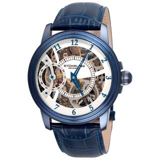 Stuhrling Original Men's Brumalia Mechanical Blue Leather Strap Watch