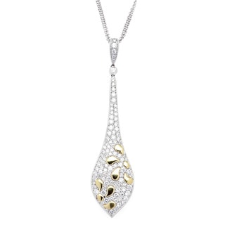Azaro 18k Two-tone 1 3/4ct TDW Petal Design Diamond Teardrop Pendant Necklace (G-H, SI2-I1)