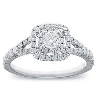 Azaro 14k White Gold 1 1/5 TDW Cushion-cut Diamond Engagement Ring (G-H, SI2-I1)