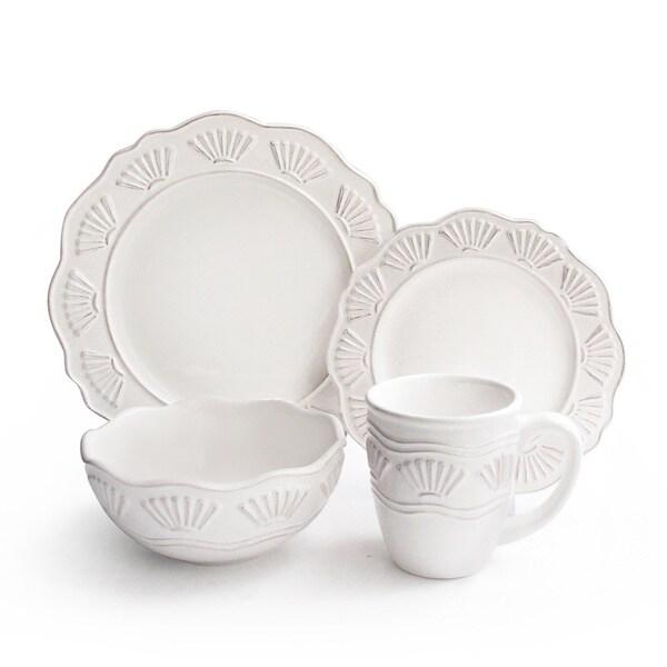 Bianca Shell White 16-piece Stoneware Dinner Set