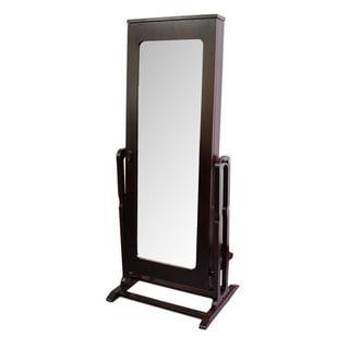 Tall Dark Cherry Standing Mirror with Interior Storage
