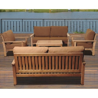 Amazonia Teak San Francisco Deluxe 5-piece Deep Seating Set with SUNBRELLA