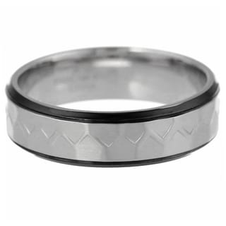 Black Ion-plated Men's Stainless Steel Hammered Texture and Edge Ring