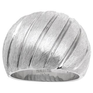 Link to Brushed Stainless Steel Ribbed Design Fashion Ring Similar Items in Rings