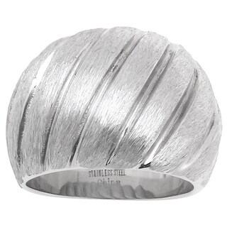 Brushed Stainless Steel Ribbed Design Fashion Ring