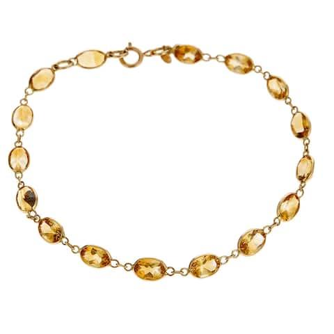 14K Yellow Gold Oval-cut Citrine Bracelet