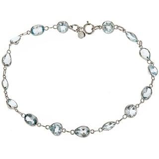 14k White Gold Combo-cut Blue Topaz Bracelet
