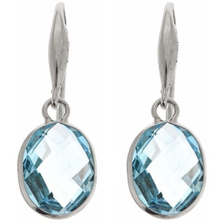 14K White Gold Oval-cut Blue Topaz Dangle Earrings