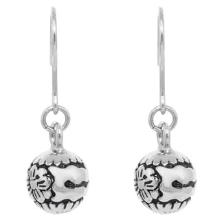 Stainless Steel Flower-carved Dangle Earrings