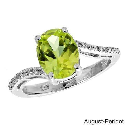 Sterling Silver Oval Gemstone Diamond Accent Birthstone Ring
