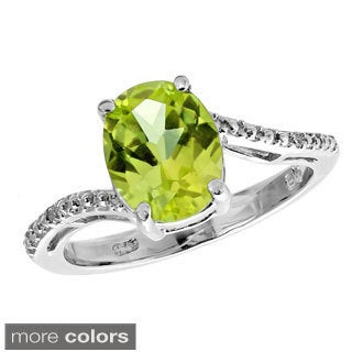 Sterling Silver Oval Gemstone Diamond Accent Birthstone Ring