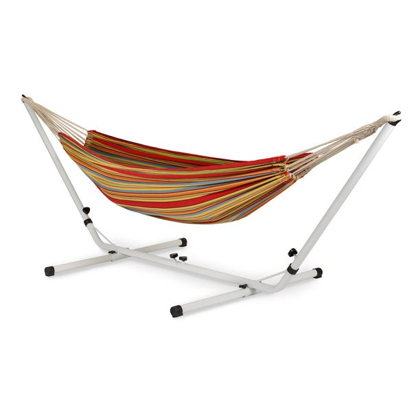 stansport brazilian cotton hammock with stand stansport brazilian cotton hammock with stand   free shipping      rh   overstock