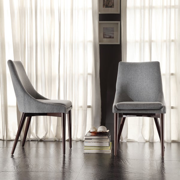 Modern Dining Chairs Cheap: Sasha Mid-century Grey Fabric Upholstered Tapered Leg