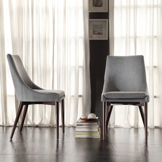 Sasha Mid Century Grey Fabric Upholstered Tapered Leg Dining Chairs Set Of 2