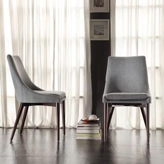 Good Sasha Mid Century Grey Fabric Upholstered Tapered Leg Dining Chairs (Set Of  2)
