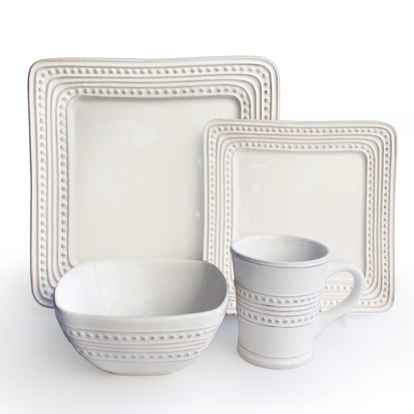 bianca white square with dots 16 piece dinnerware set