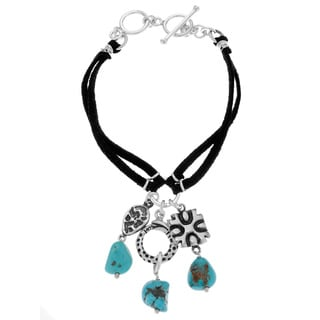 Stainless Steel 2-strand Leather Created Turquoise Charm Bracelet