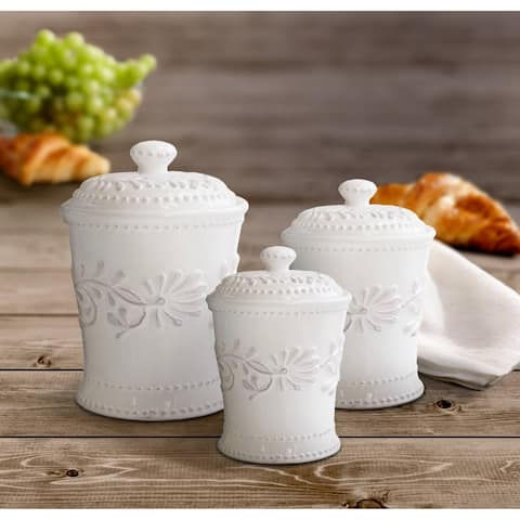 American Atelier Bianca Leaf White 3-Piece Ceramic Canister Set