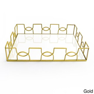 Curved Metal and Glass Tray (Option: Gold)