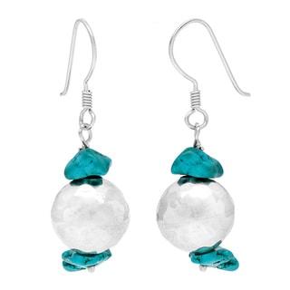 Turquoise .925 Sterling Silver Dangle Hook Earrings