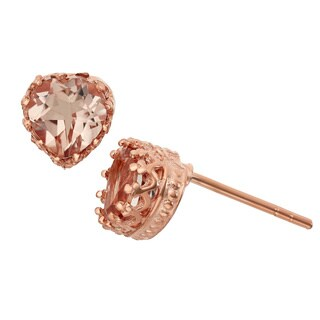 Gioelli Tiara Collection Rose Gold plated Silver Simulated Morganite Heart Crown Earrings