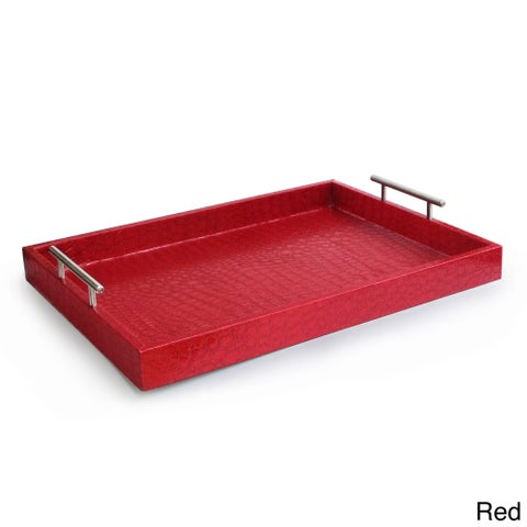 Croc-embossed Serving Tray with Metal Handles