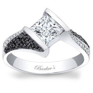Barkev's Designer 14k White Gold 1 1/3ct TDW Black and White Diamond Ring