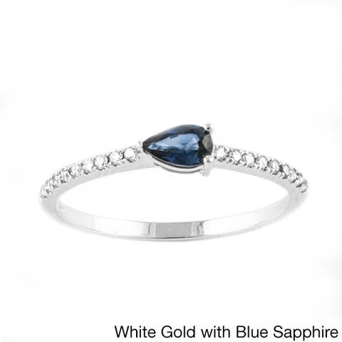 10k Gold 1/10ct TDW Diamond and Sapphire Stackable Band Ring by Beverly Hills Charm