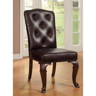 Furniture of America Oskarre Leather-like Side Chairs (Set of 2)