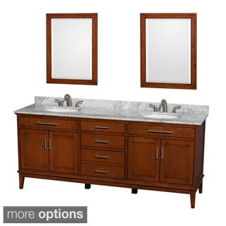 Wyndham Collection Hatton Light Chestnut 80-inch Double Vanity with Mirror