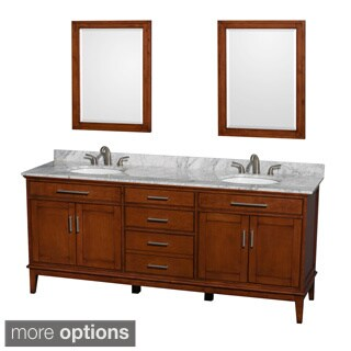 Wyndham Collection Hatton Light Chestnut 80-inch Double Vanity with Mirror