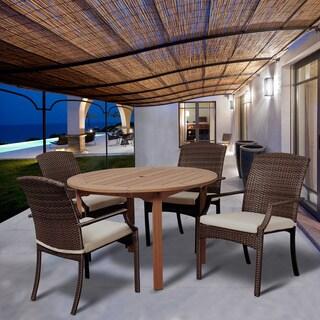 Amazonia Granada 5-piece Dining Round Wood & Wicker Set