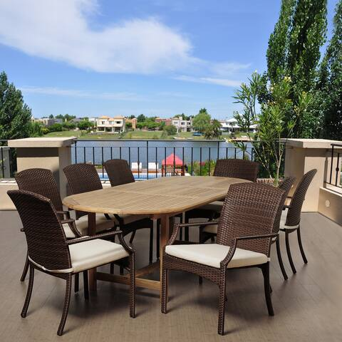Amazonia Teak Liguria 9-piece Extendable OvalTeak and Wicker Dining Set with Off-white Cushions