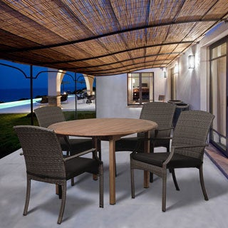 Amazonia Teak Arno 5-piece Round Teak and Synthetic Wicker Dining Set with Grey Cushions
